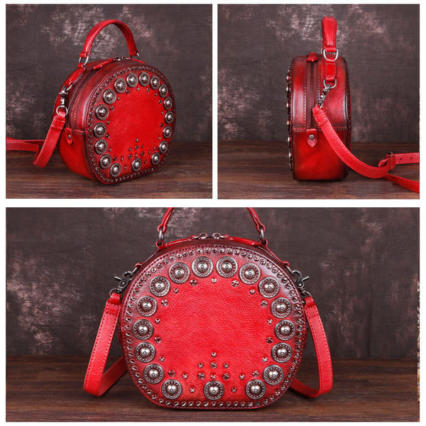 Cool Ladies Rivets Leather Circle Bag Crossbody Purse For Women Chic