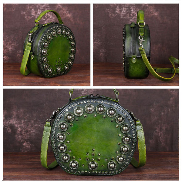 Cool Ladies Rivets Leather Circle Bag Crossbody Purse For Women Cool