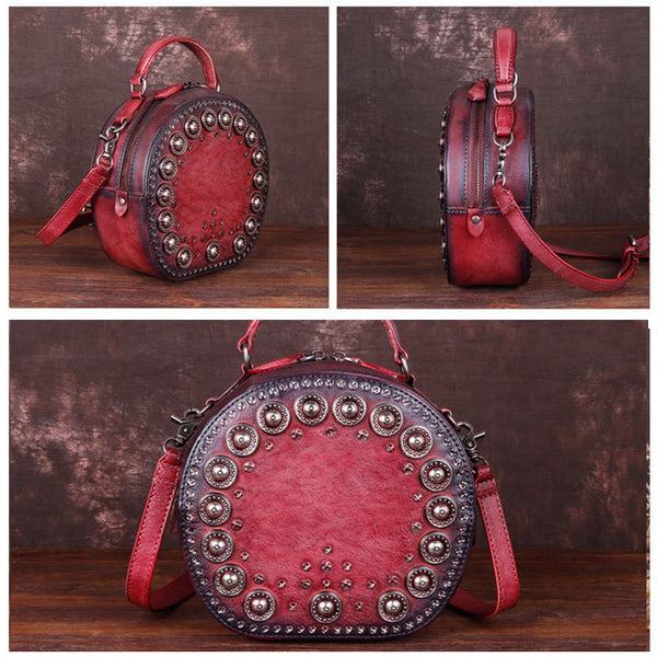 Cool Ladies Rivets Leather Circle Bag Crossbody Purse For Women Cowhide