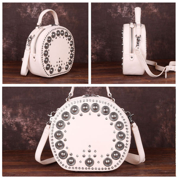 Cool Ladies Rivets Leather Circle Bag Crossbody Purse For Women Cute