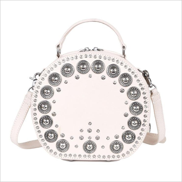 Cool Ladies Rivets Leather Circle Bag Crossbody Purse For Women Designer