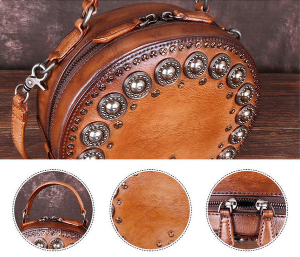 Cool Ladies Rivets Leather Circle Bag Crossbody Purse For Women Details