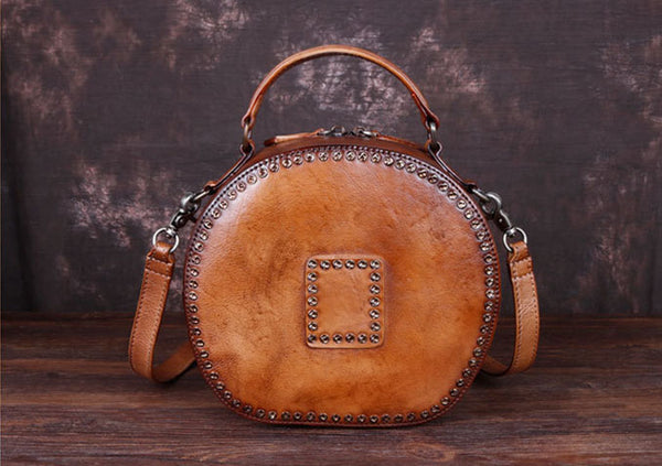 Cool Ladies Rivets Leather Circle Bag Crossbody Purse For Women Funky