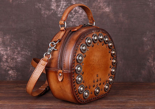 Cool Ladies Rivets Leather Circle Bag Crossbody Purse For Women Genuine Leather