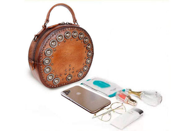 Cool Ladies Rivets Leather Circle Bag Crossbody Purse For Women Gift
