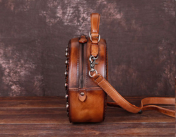 Cool Ladies Rivets Leather Circle Bag Crossbody Purse For Women Handmade