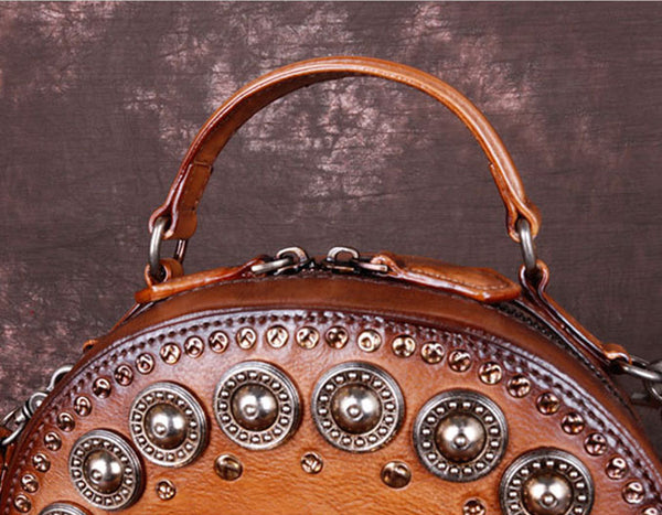 Cool Ladies Rivets Leather Circle Bag Crossbody Purse For Women Original