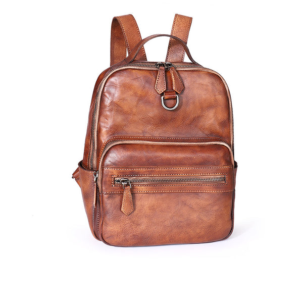 Cool Ladies Small Brown Leather Backpack Purse