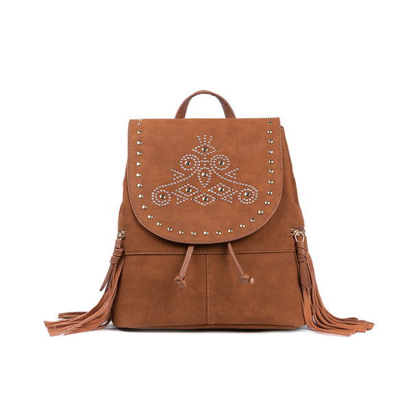 Cool Ladies Western Brown Vegan Leather Fringe Backpack Purse For Women