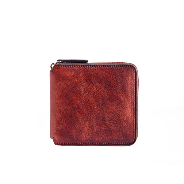 Cool Leather Womens Short Zip Wallet Small Wallets for Women Accessories