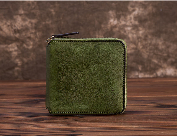 Cool Leather Womens Short Zip Wallet Small Wallets for Women green