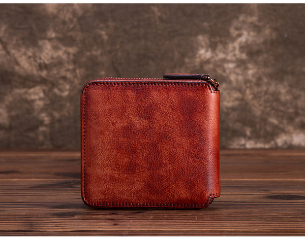 Cool Leather Womens Short Zip Wallet Small Wallets for Women red details