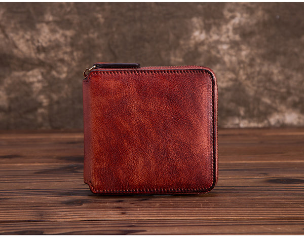 Cool Leather Womens Short Zip Wallet Small Wallets for Women red