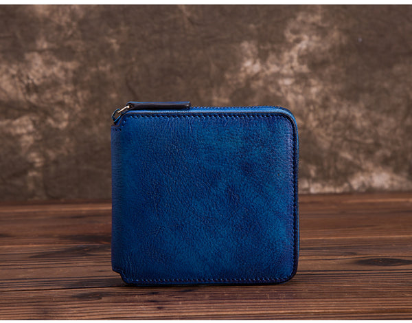 Cool Leather Womens Short Zip Wallet Small Wallets for Women stylish