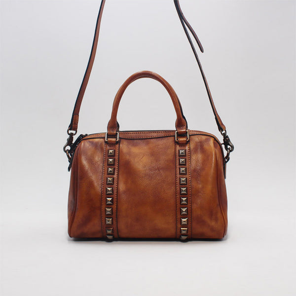Cool Rivets Womens Handbags Brown Leather Shoulder Bag for Women cool