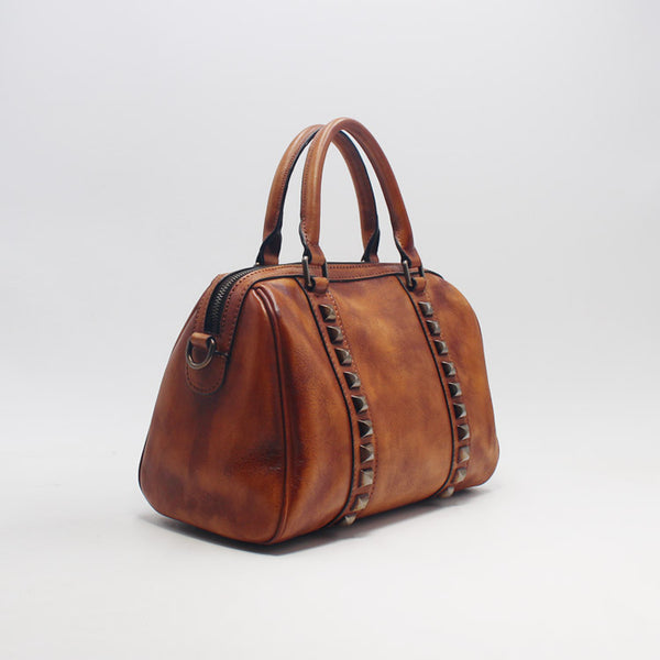Cool Rivets Womens Handbags Brown Leather Shoulder Bag for Women gift