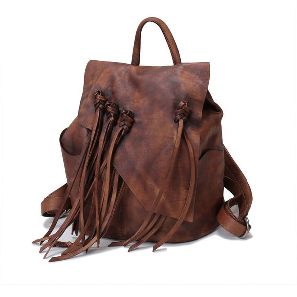 Cool Tassel Women Leather Backpack Purse Designer Backpacks for Women