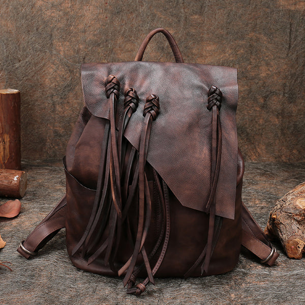 "13"" Medium Ladies Brown Leather Fringe Backpack Purse Cool Book Bags for Women"