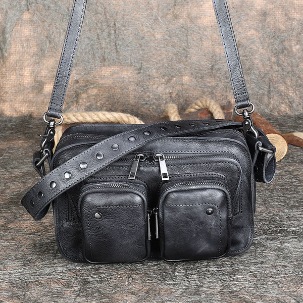 Cool Women's Leather Crossbody Sling Bags Purse Shoulder Bag for Women Black