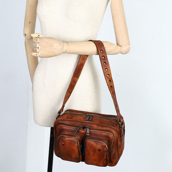 Cool Women's Leather Crossbody Sling Bags Purse Shoulder Bag for Women Brown