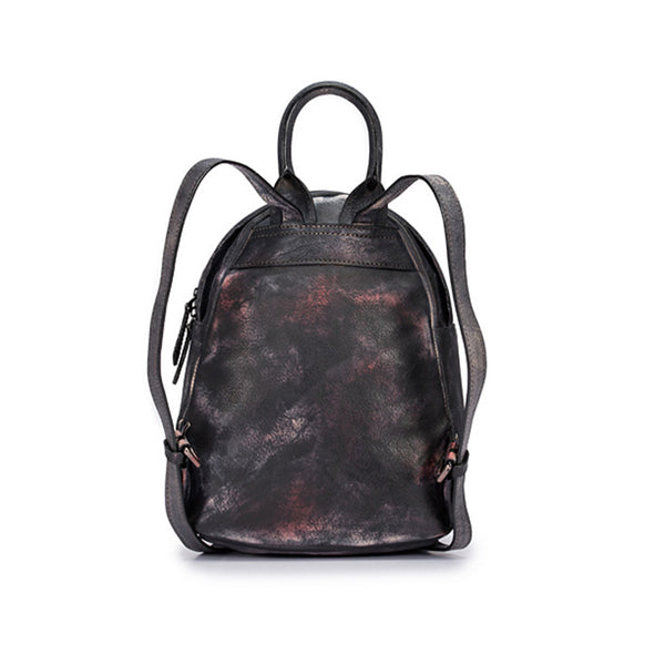 Cool Womens Backpack Vintage Dyeing Leather Backpacks for Women Accessories