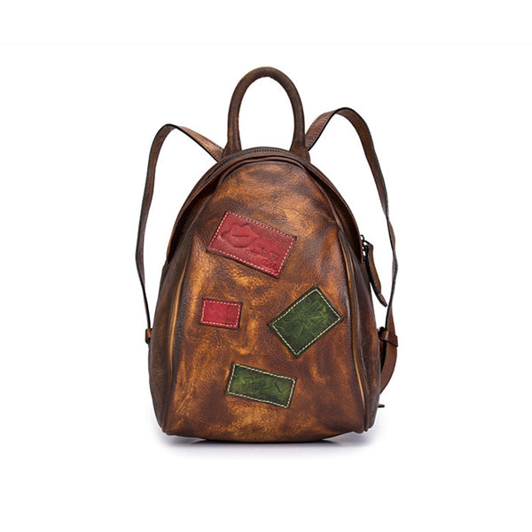 Cool Womens Backpack Vintage Dyeing Leather Backpacks for Women Brown