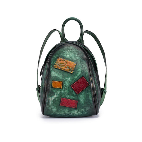 Cool Womens Backpack Vintage Dyeing Leather Backpacks for Women GREEN