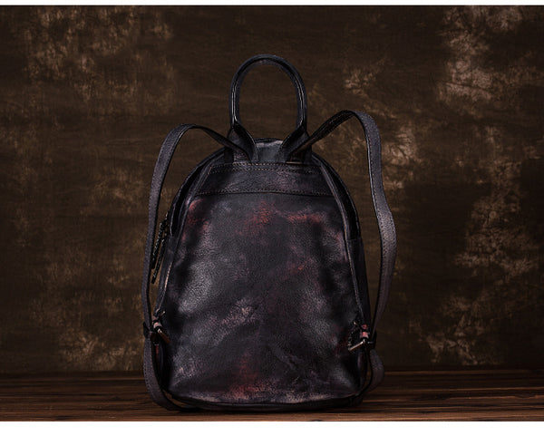 Cool Womens Backpack Vintage Dyeing Leather Backpacks for Women Handmade