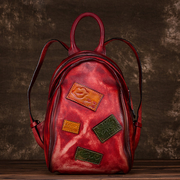 Cool Womens Backpack Vintage Dyeing Leather Backpacks for Women Vintage