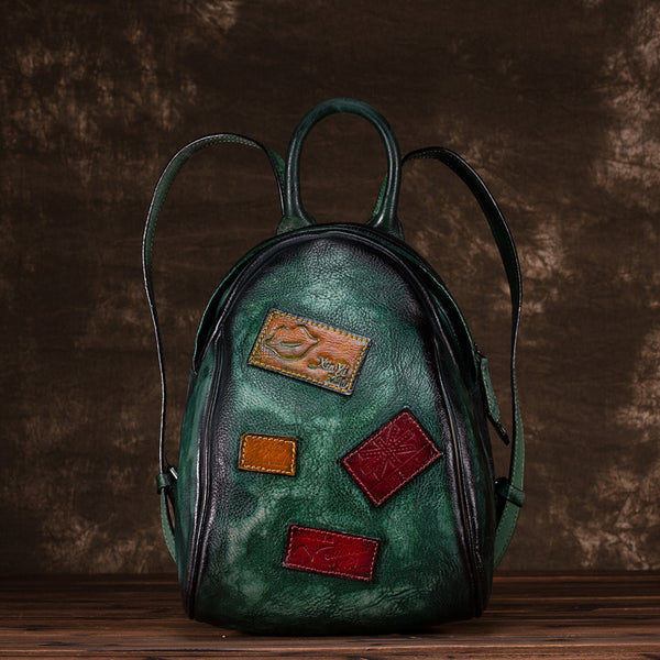 Cool Womens Backpack Vintage Dyeing Leather Backpacks for Women Unique