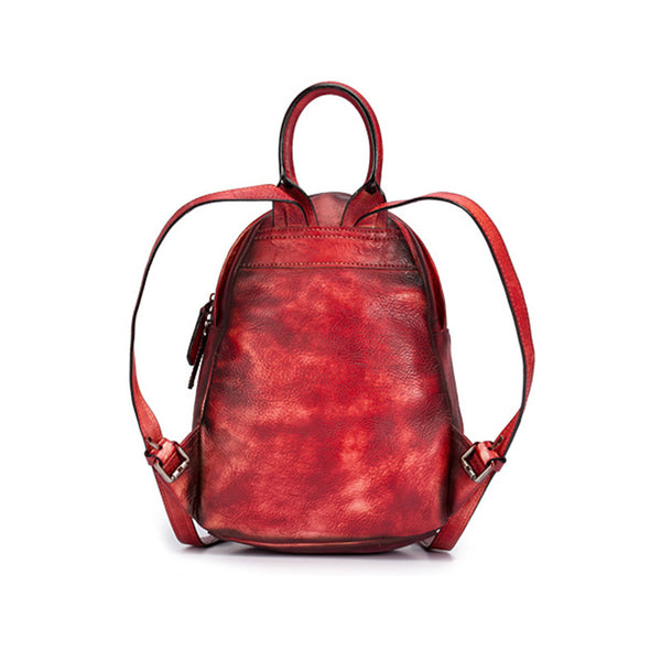 Cool Womens Backpack Vintage Dyeing Leather Backpacks for Women beautiful