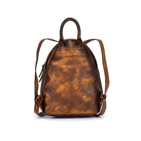 Cool Womens Backpack Vintage Dyeing Leather Backpacks for Women