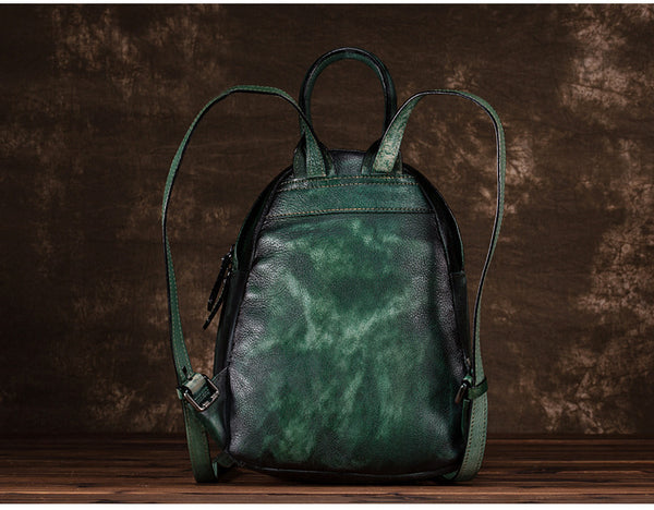 Cool Womens Backpack Vintage Dyeing Leather Backpacks for Women gift