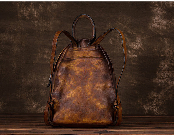 Cool Womens Backpack Vintage Dyeing Leather Backpacks for Women small
