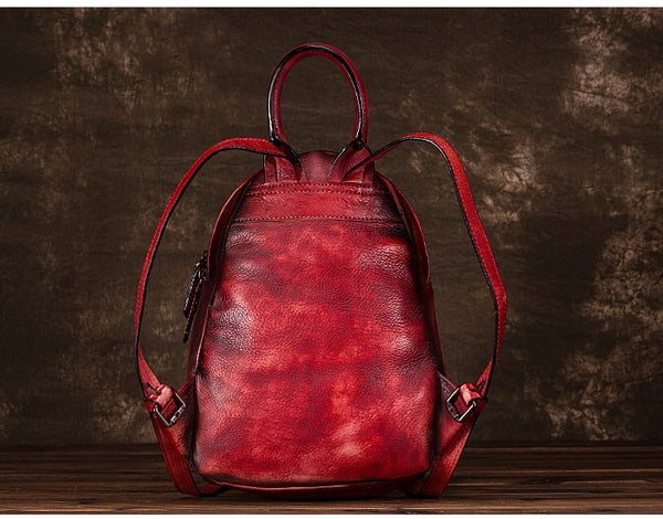 Cool Womens Backpack Vintage Dyeing Leather Backpacks for Women stylish