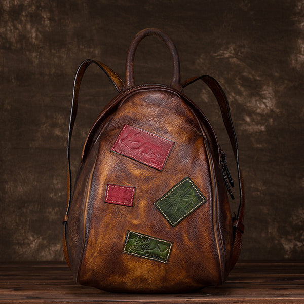 Cool Womens Backpack Vintage Dyeing Leather Backpacks for Women work bag 2