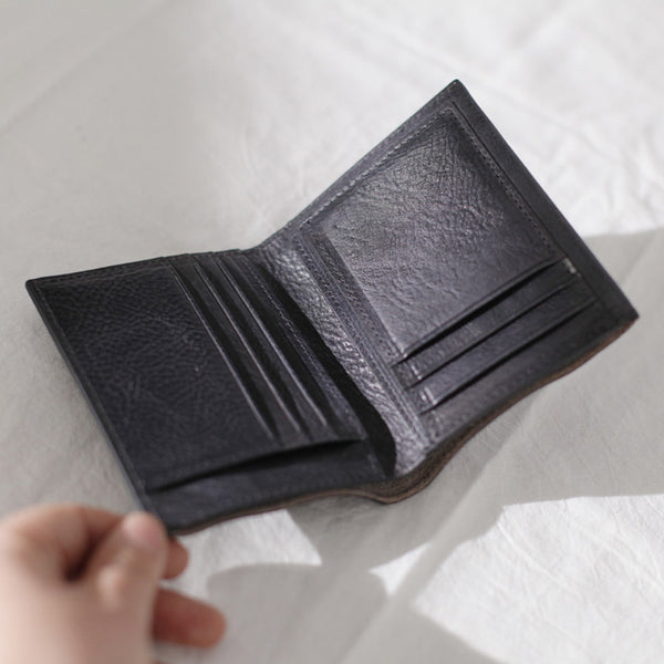 Cool Womens Black Leather Small Wallet Purse Handmade Clutch for Women Black