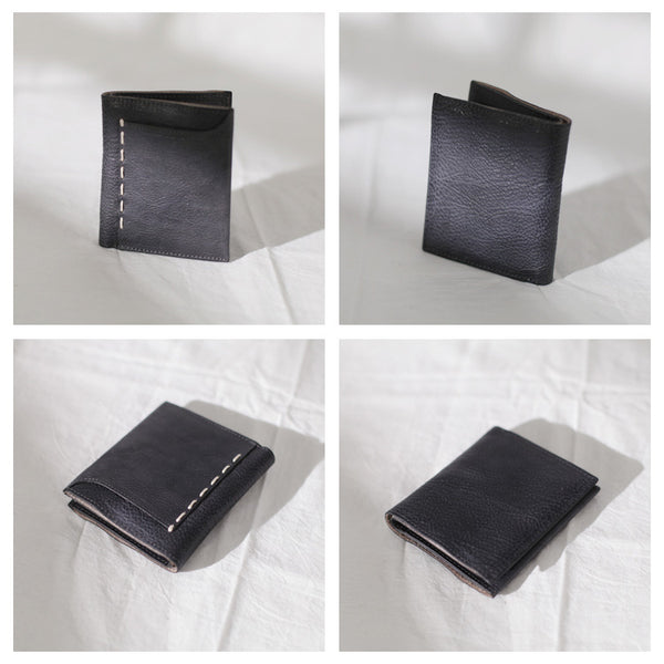 Cool Womens Black Leather Small Wallet Purse Handmade Clutch for Women Details