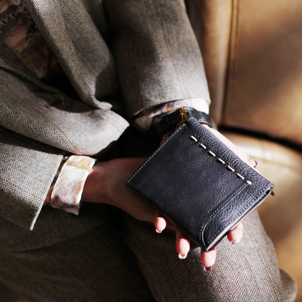 Cool Womens Black Leather Small Wallet Purse Handmade Clutch for Women beautiful