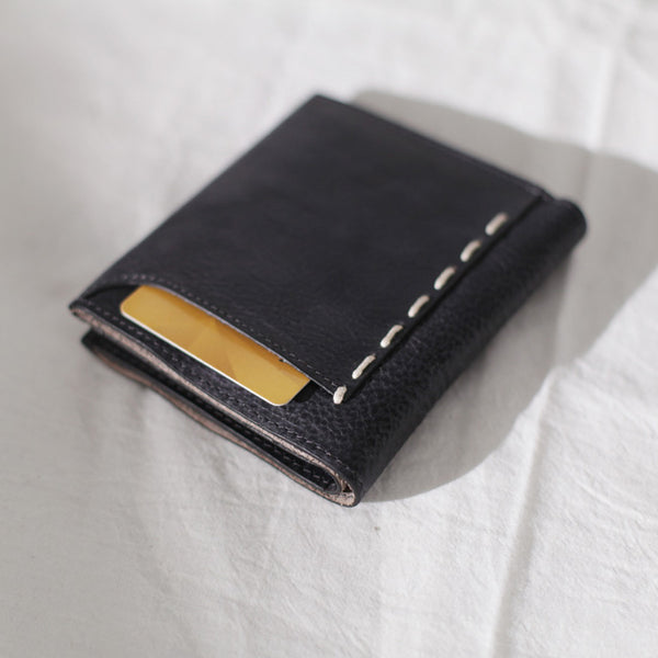 Cool Womens Black Leather Small Wallet Purse Handmade Clutch for Women chic