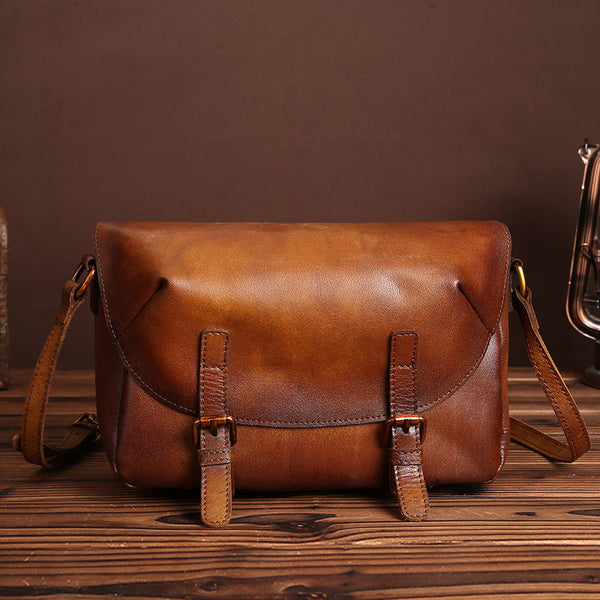 Cool Womens Brown Leather Satchel Bag Crossbody Bags Purse for Women Details