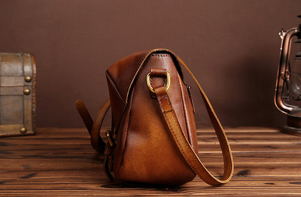 Cool Womens Brown Leather Satchel Bag Crossbody Bags Purse for Women Genuine Leather