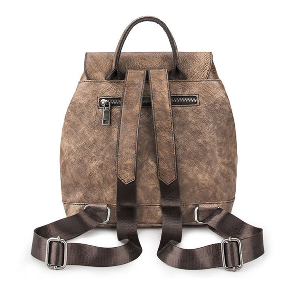 Handmade Womens Brown Leather Flap Backpack Purse Drawstring Backpacks for Women