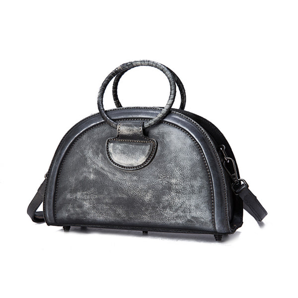 Cool Womens Half-Round Bag Leather Crossbody Bags Handbags for Women