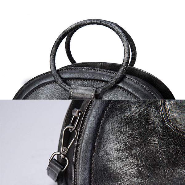 Cool Womens Half-Round Bag Leather Crossbody Bags Handbags for Women Details