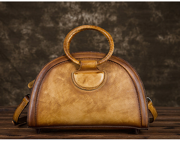 Cool Womens Half-Round Bag Leather Crossbody Bags Handbags for Women Handmade