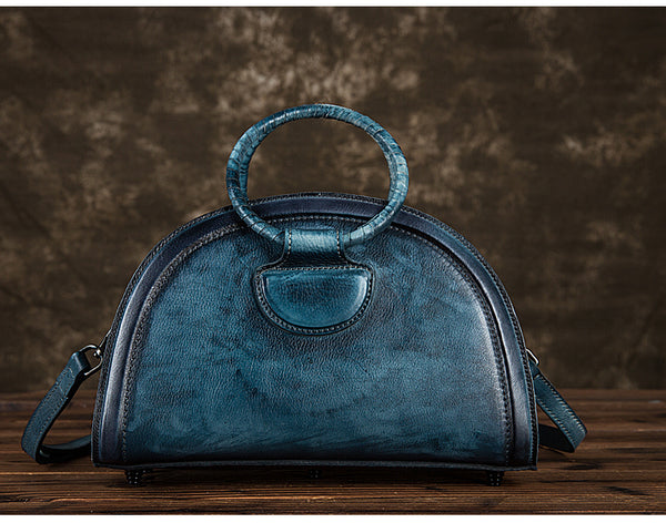 Cool Womens Half-Round Bag Leather Crossbody Bags Handbags for Women gift