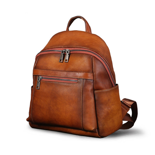 Cool Womens Small Backpack Purse Leather Backpacks for Women Brown