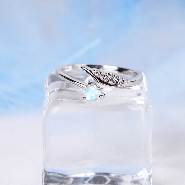 Couple Jewelry Moonstone Ring Silver Engage Ring Men Women charming