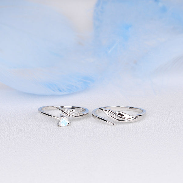 Couple Jewelry Moonstone Ring Silver Engage Ring Men Women gift